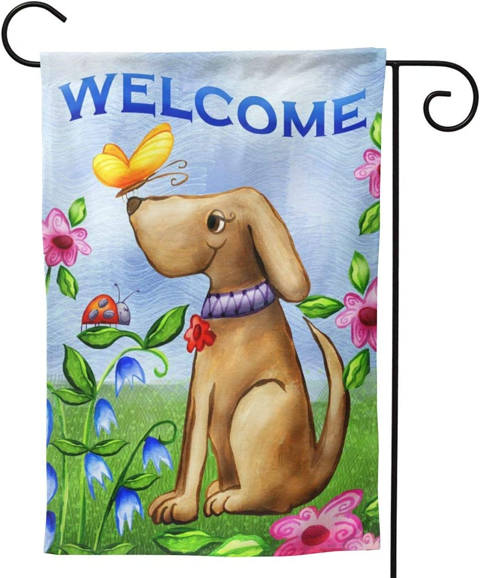 YISHOW Welcome Dog Puppy Garden Flag Double Sided Vertical House Flags Welcome Dog Puppy Yard Signs Outdoor Decor 12.5 X 18 Inch