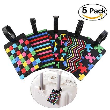 PIXNOR viaje equipaje etiqueta maleta PVC bolsa etiqueta paquete de 5