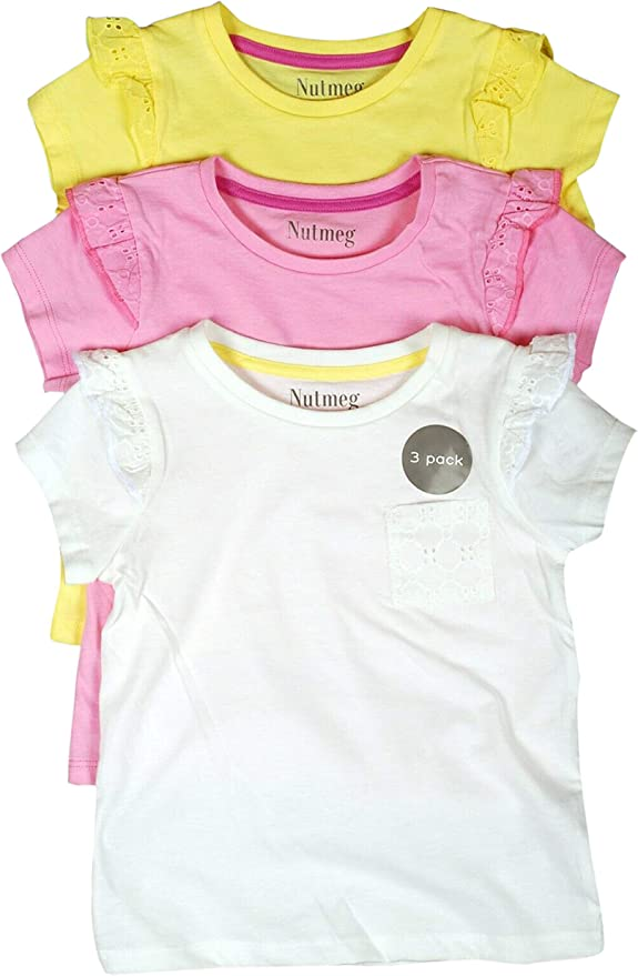 Pack de 3 Camisetas de algodón de Manga Corta para niñas, Top de ...