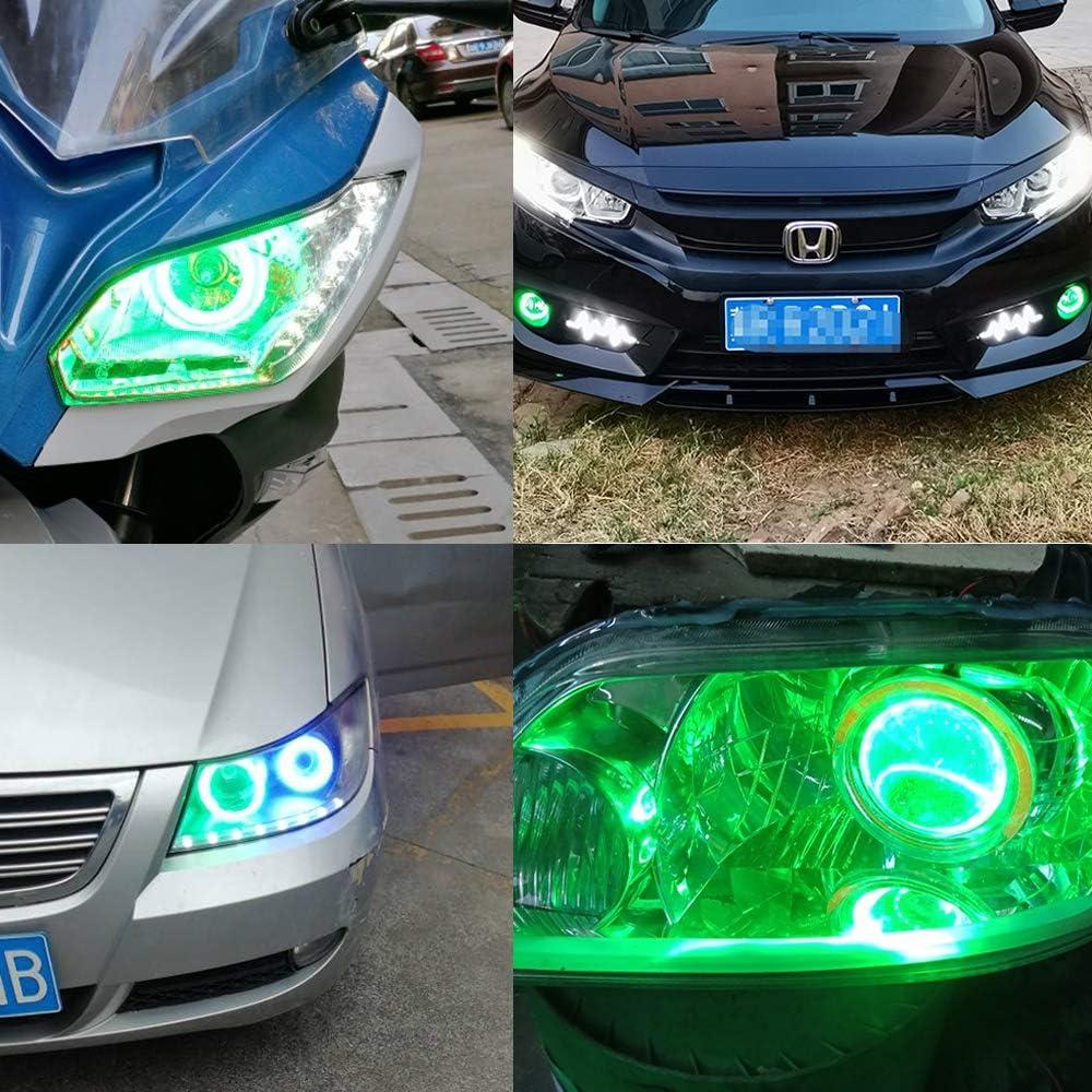 Fulintech Lot de 2 phares Angel Eye LED COB 90 mm Vert