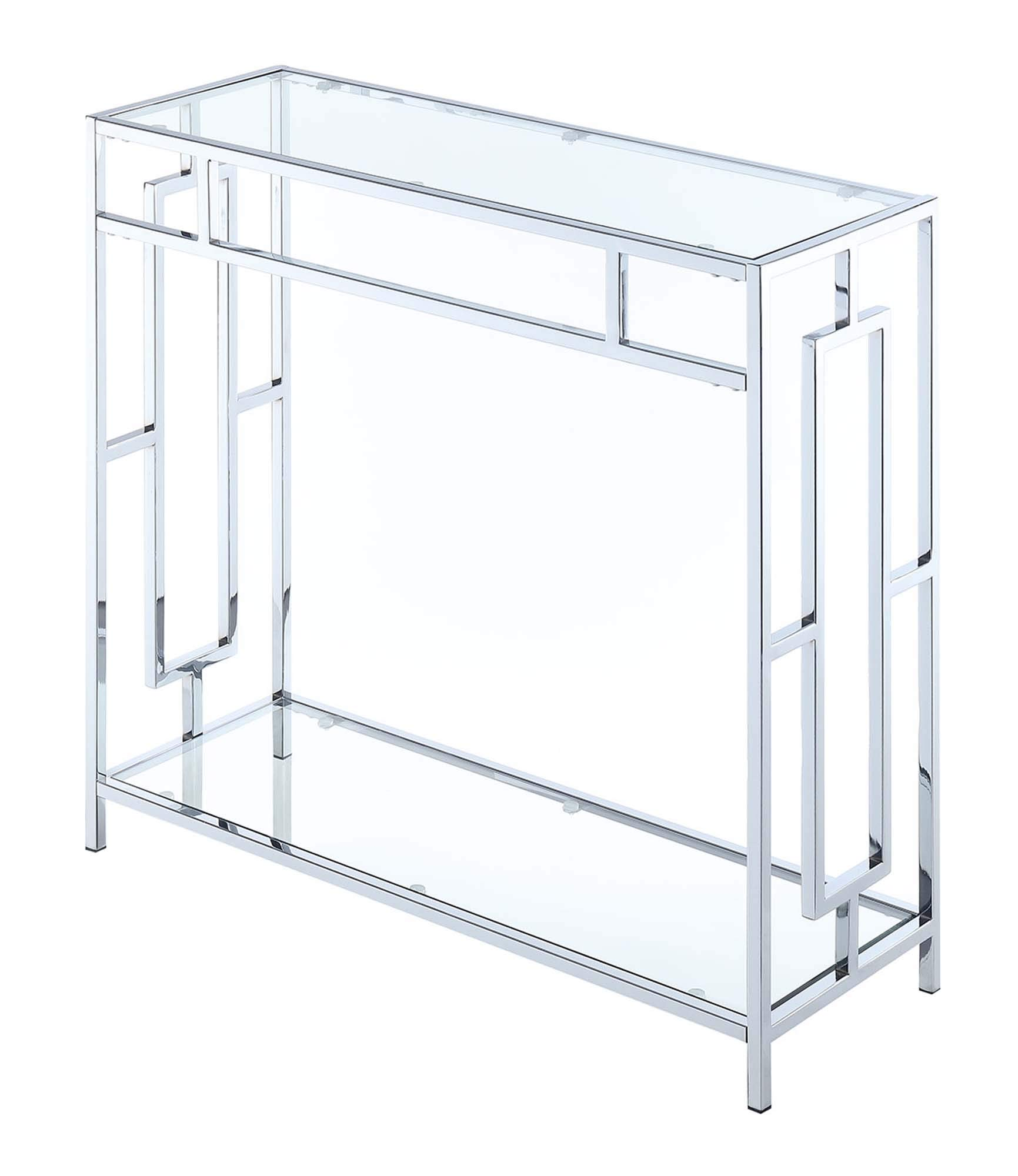 Convenience Concepts Town Square Chrome Hall Table, Clear Glass Frame by Convenience Concepts