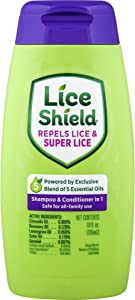 Lice Shield Shampoo and Conditioner in 1, 10 Fl Oz Bottle, Lice Repellent 2in1 Shampoo with Essential Oils for Repelling Lice and Super Lice