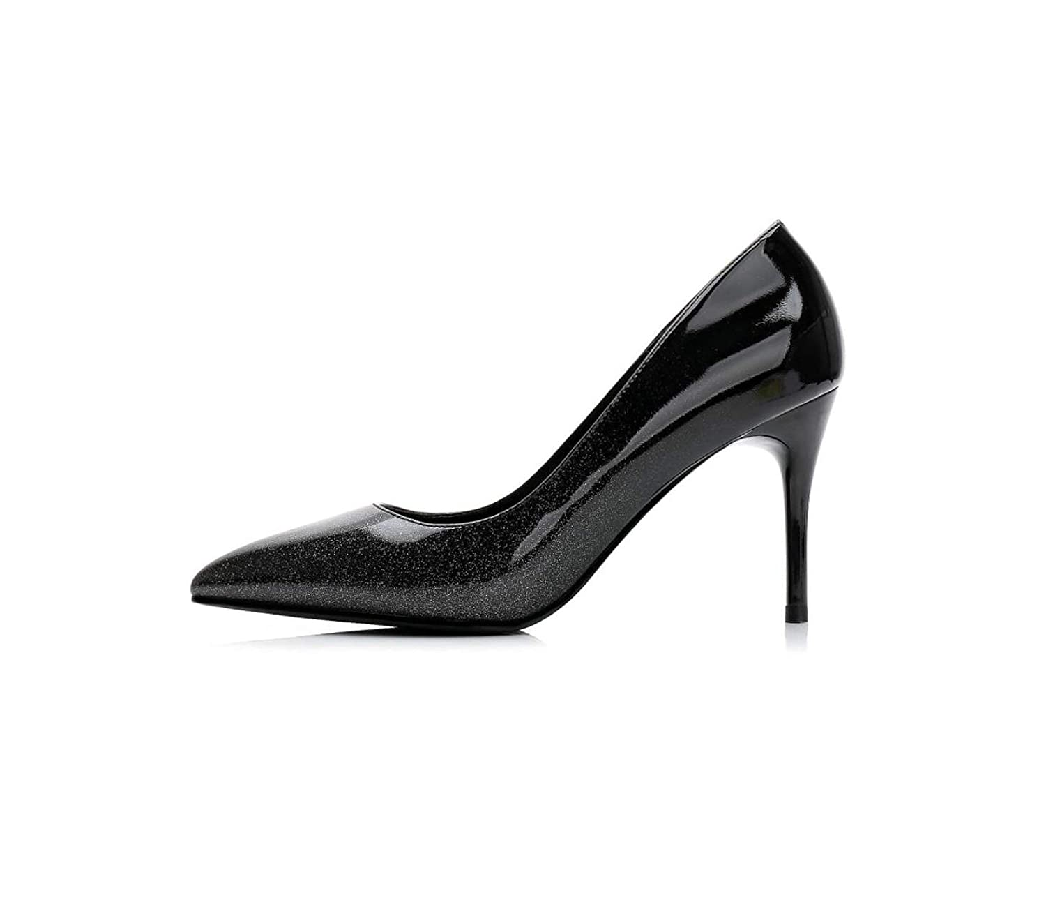 Black High Heels Gradually Changing color Patent Leather Pointed Toe Women Office Lady Dress High Heel Pump