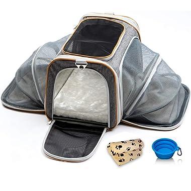 PETYELLA Luxury Pet Carrier + Fleece Blanket & Bowl - Airline Approved Innovative Design - Lightweight Dog & Cat Carrier