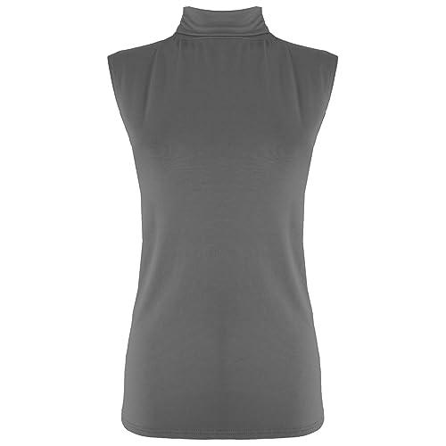 Oops Outlet–Camiseta sin mangas ajustada de cuello alto, color único, para mujer