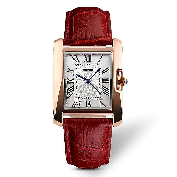 Reloj de pulsera analógico de cuarzo para mujer, estilo diario, números romanos con correa de cuero, sumergible hasta 30 m, color rojo: Amazon.es: Relojes