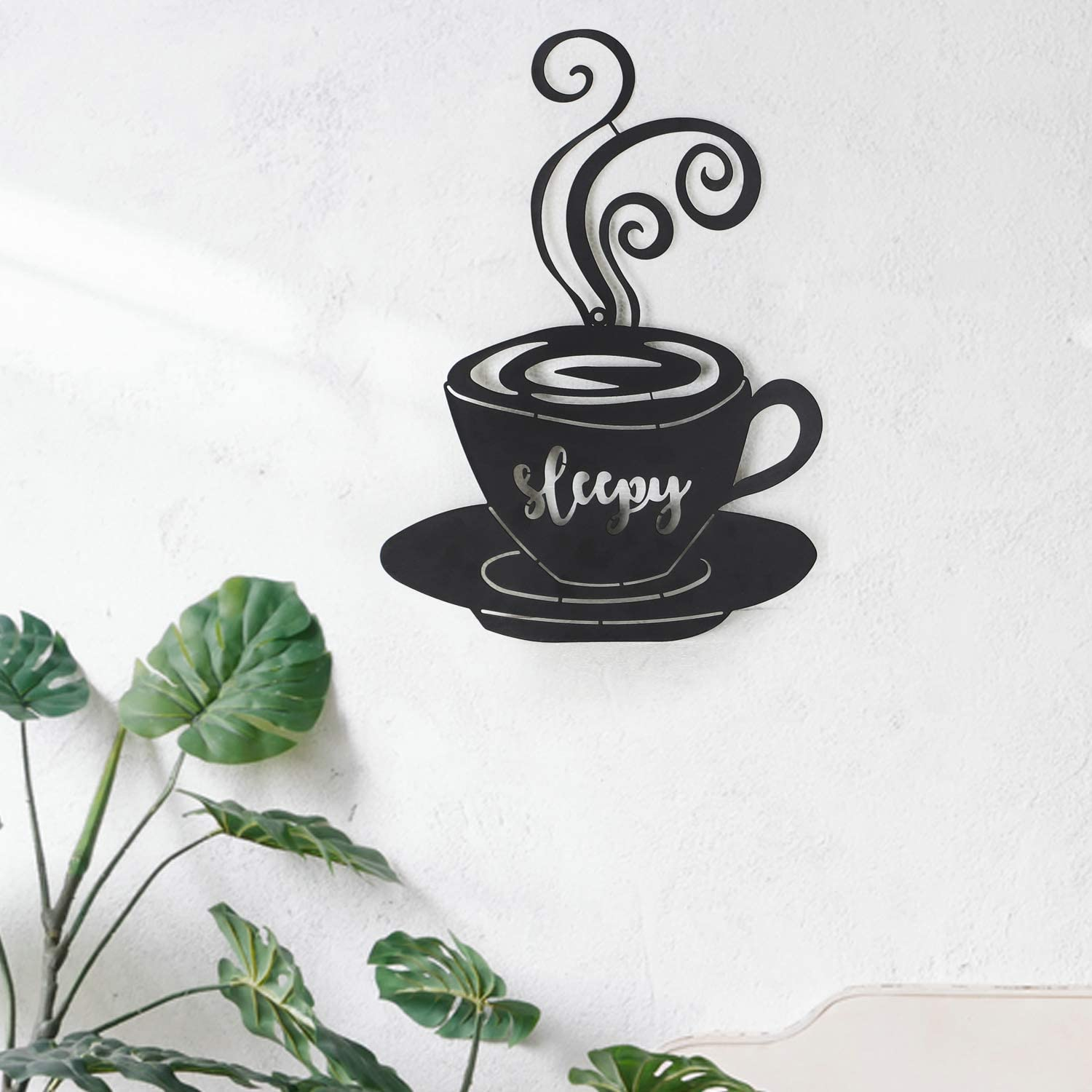 Adeco Decorative Iron Wall Hanging Accents Three Stacked Coffee Tea Cups Decor Widget 23.7x12.2 Inches