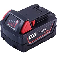 M18 4.0Ah Replace for Milwaukee 18V Battery XC Red Lithium 48-11-1820 48-11-1850 48-11-1828 48-11-1840 48-11-1815 Cordless Power Tools
