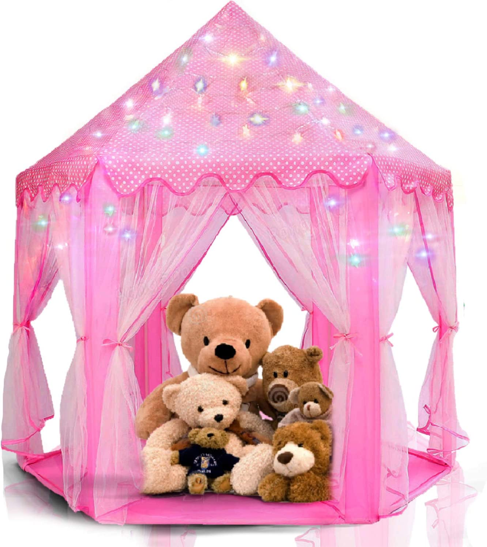 LimitlessFunN Princess Tent Bonus Star Lights Girls Large Hexagon Playhouse Kids Castle Play Tent for Children, Indoor & Outdoor