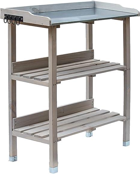 Mesa de plantación de madera, mesa de jardín con placa de zinc y 2 estantes, resistente a la intemperie, estantería para plantas de 76 x 38 x 91 cm, ...