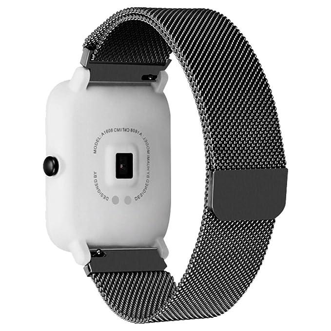 Huami Amazfit Bip - Correa para reloj de pulsera de acero inoxidable magnética, elegante, correa de metal de repuesto para Xiaomi Huami Amazfit Bip Youth ...