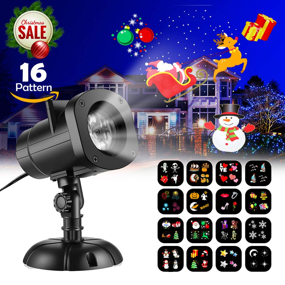 KUDES Christmas Lights Projector, 16 Patterns Outdoor LED Rotating Snowflake Projection Light Show Spotlight for Holiday Party Birthday Landscape Garden Decoration Leegoo pl2018