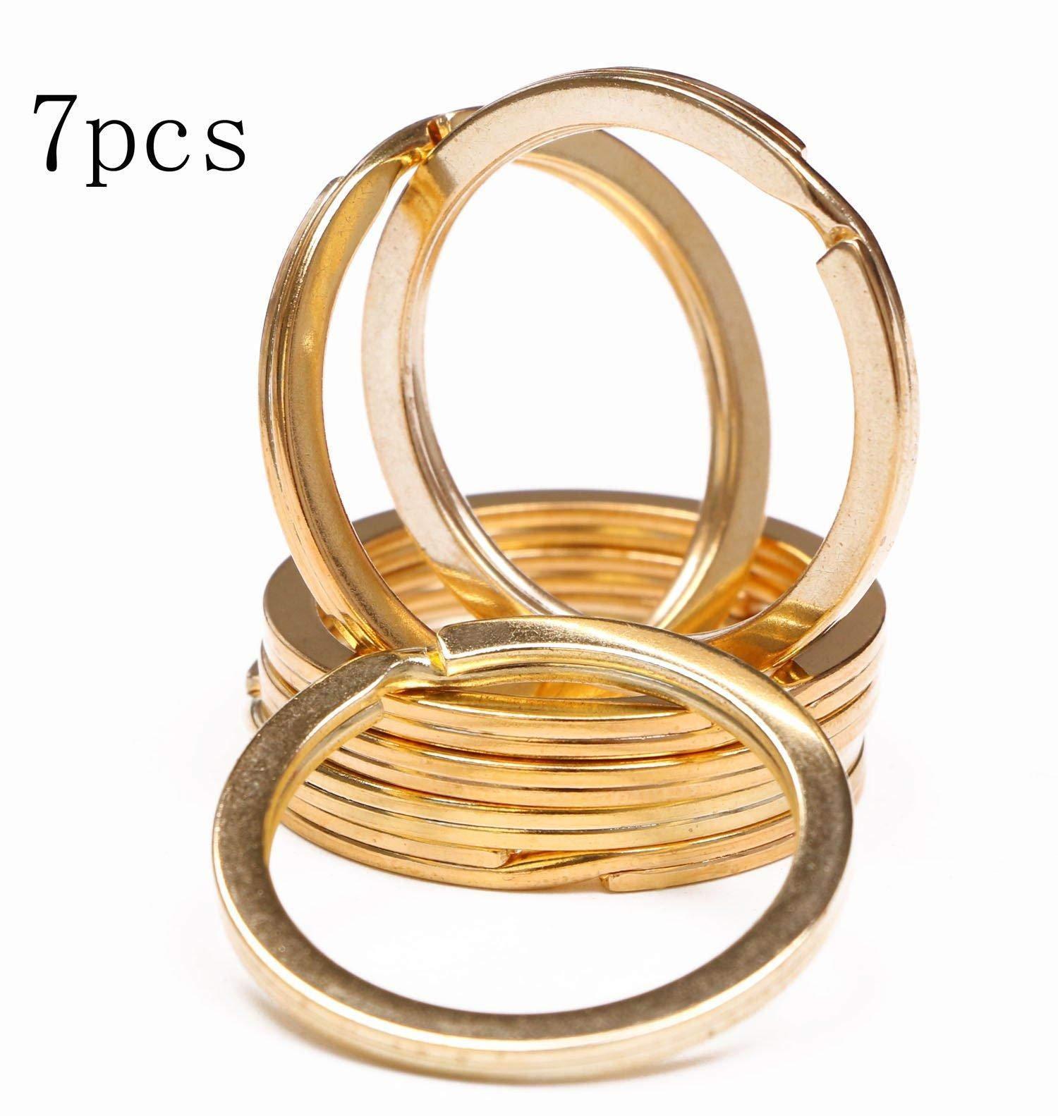 Oldlila 1.2 Inch Flat Split Key Chain Ring Connector Metal Keychain Part Keyring Clip Loop Holder (Gold, 7PCS)