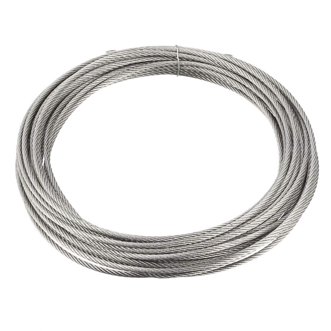 uxcell Stainless Steel Wire Rope Cable 6mm 0.24 inch Dia 5.6ft 1.7m Length 3 Gauge 304 Grade for Hoist Lifting Grinder Pulley Wheel