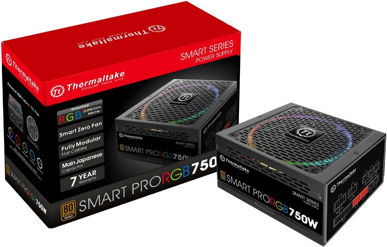 Thermaltake Smart Pro RGB 750W 80+ Bronze Smart Zero 256-Color RGB Fan Fully Modular ATX 12V 2.4/EPS 12V 2.92 Power Supply 7 YR Warranty PS-SPR-0750FPCBUS-R