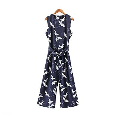 aea7adbbd9da Missrooney Women Cute Crane Print Jumpsuit Pockets Sleeveless Pleated  Rompers Ladies Vintage Casual Jumpsuits As Picture