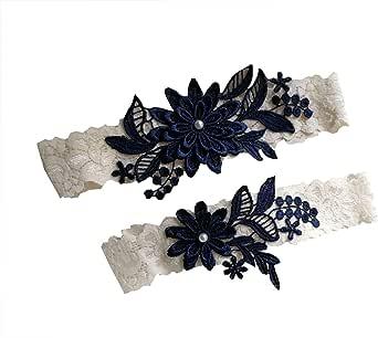 Abading Dasiy wedding garters for bride bridal lace garter set hand sewn pearls