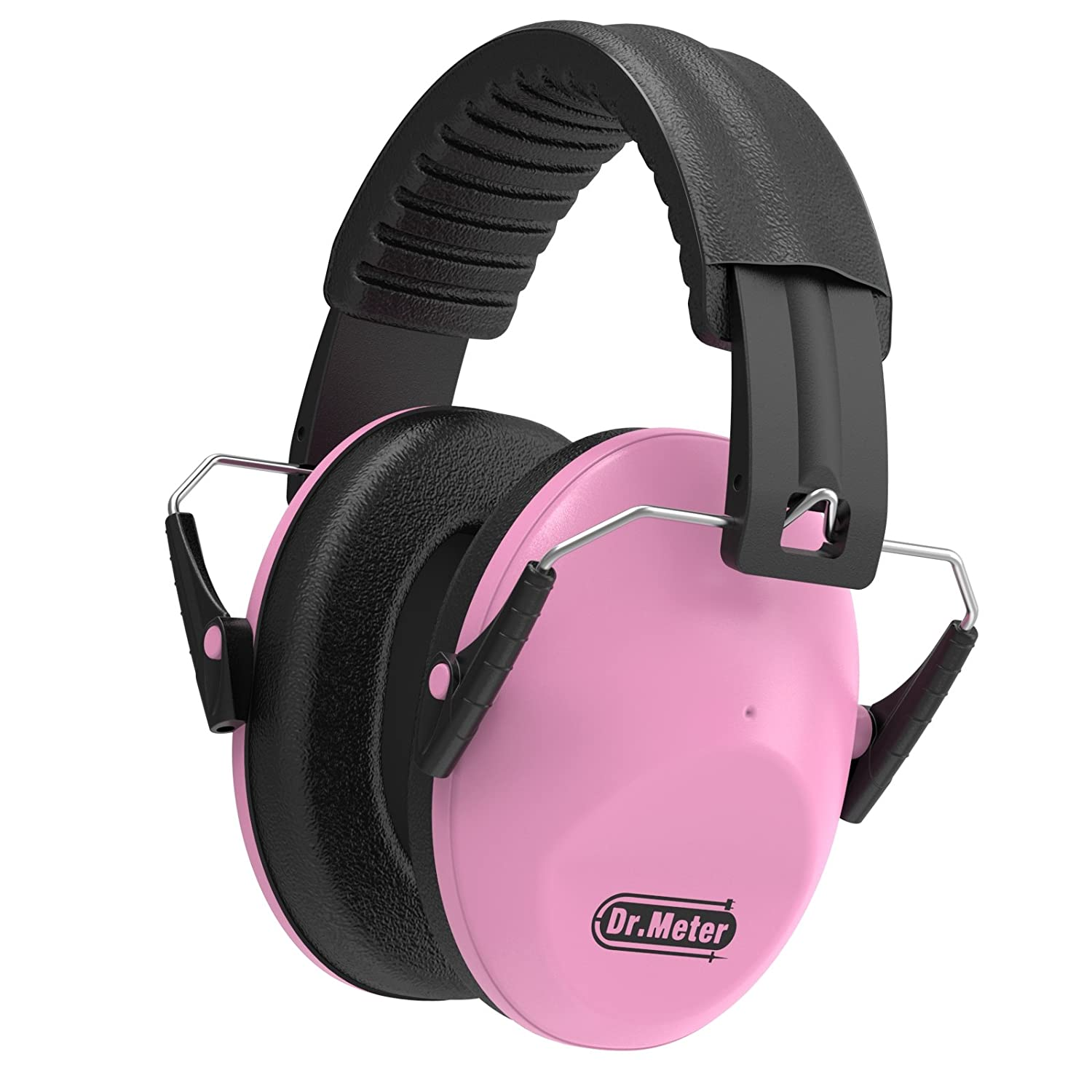 Dr.meter Adjustable Head Band Kids Noise Reduction Earmuffs with 27 NRR Hearing Protection Earmuffs for Shooting, Pink
