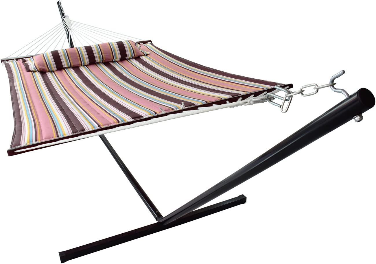 Amazon.com : Sorbus Hammock with Stand & Spreader Bars and Detachable  Pillow, Heavy Duty, 450 Pound Capacity, Accommodates 2 People, Perfect for  Indoor/Outdoor Patio, Deck, Yard (Hammock with Stand, Mocha) : Garden