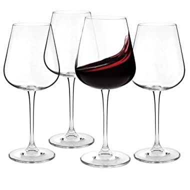 Set of 4 Crystal Red Wine Glasses 450ml (15.2 oz.) - Lead-Free Glass