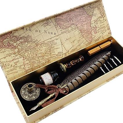 GC Quill LL-149 - Juego de bolígrafos de pluma con 6 puntas, 1 ...