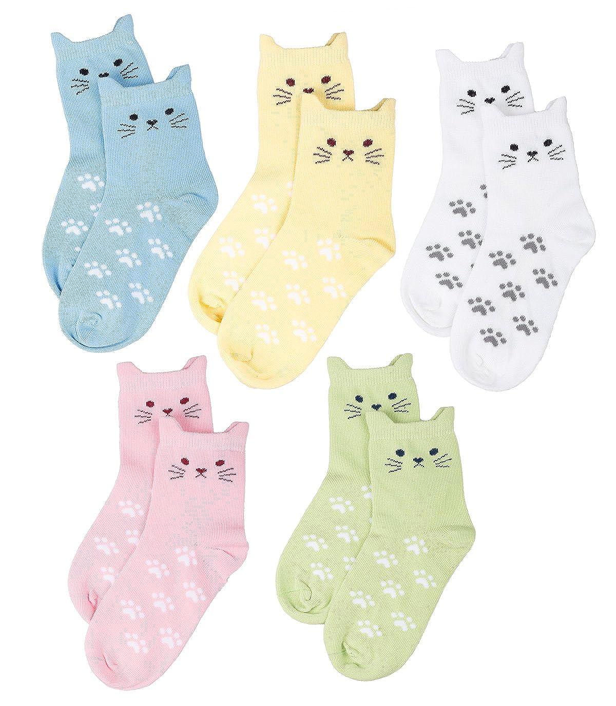 Maiwa - Calzini in cotone, 5 paia, motivo: gatto, senza cuciture, da bambina