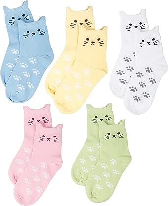 Maiwa - Pack de 5 calcetines, algodón, sin costuras, diseño de gatos