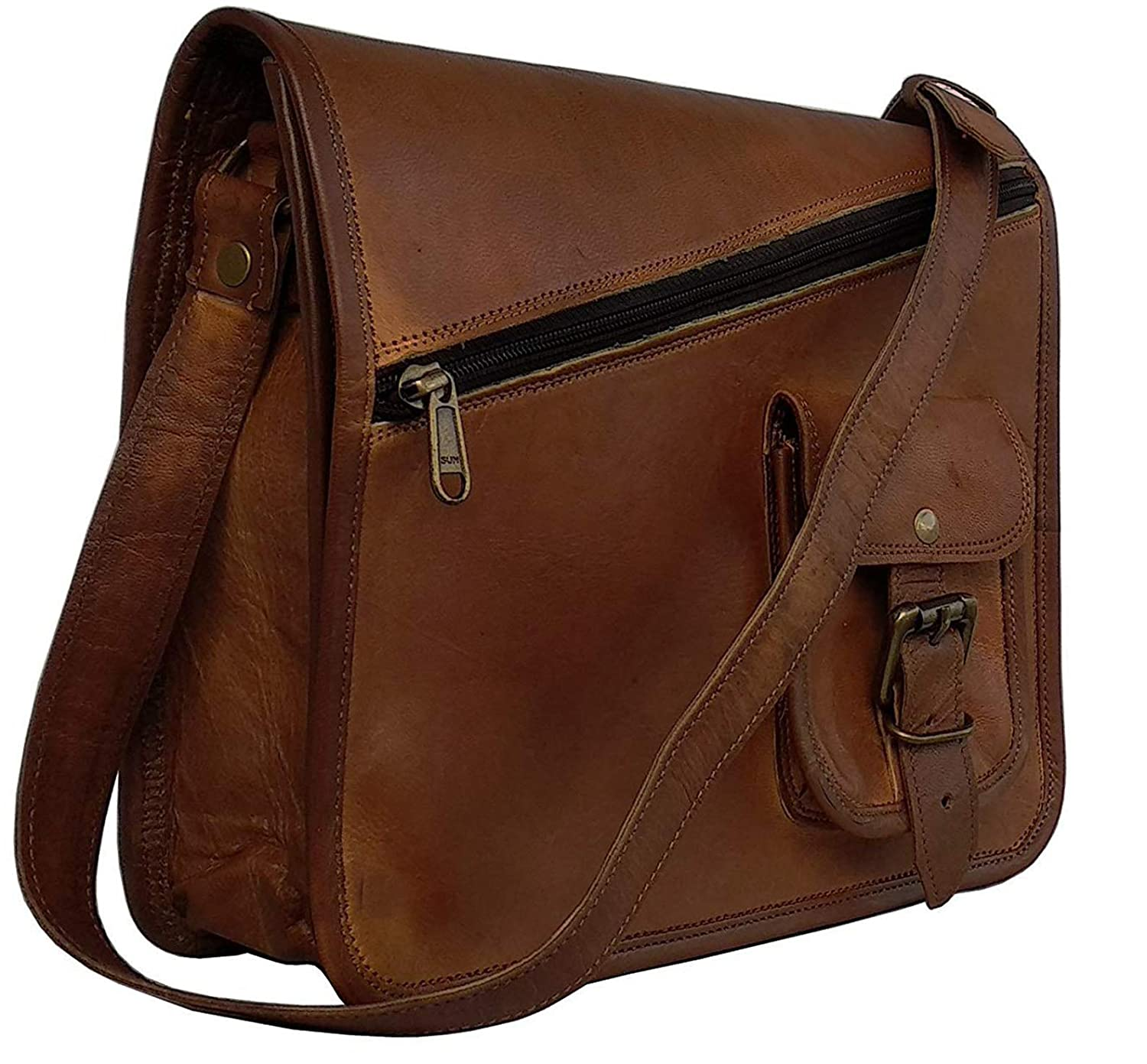 25bf5208b147f Amazon.com: MNI Small Leather Messenger Bag Shoulder Bag Cross Body Vintage  Messenger Bag Women & Men Satchel (9 x 11): Sports & Outdoors
