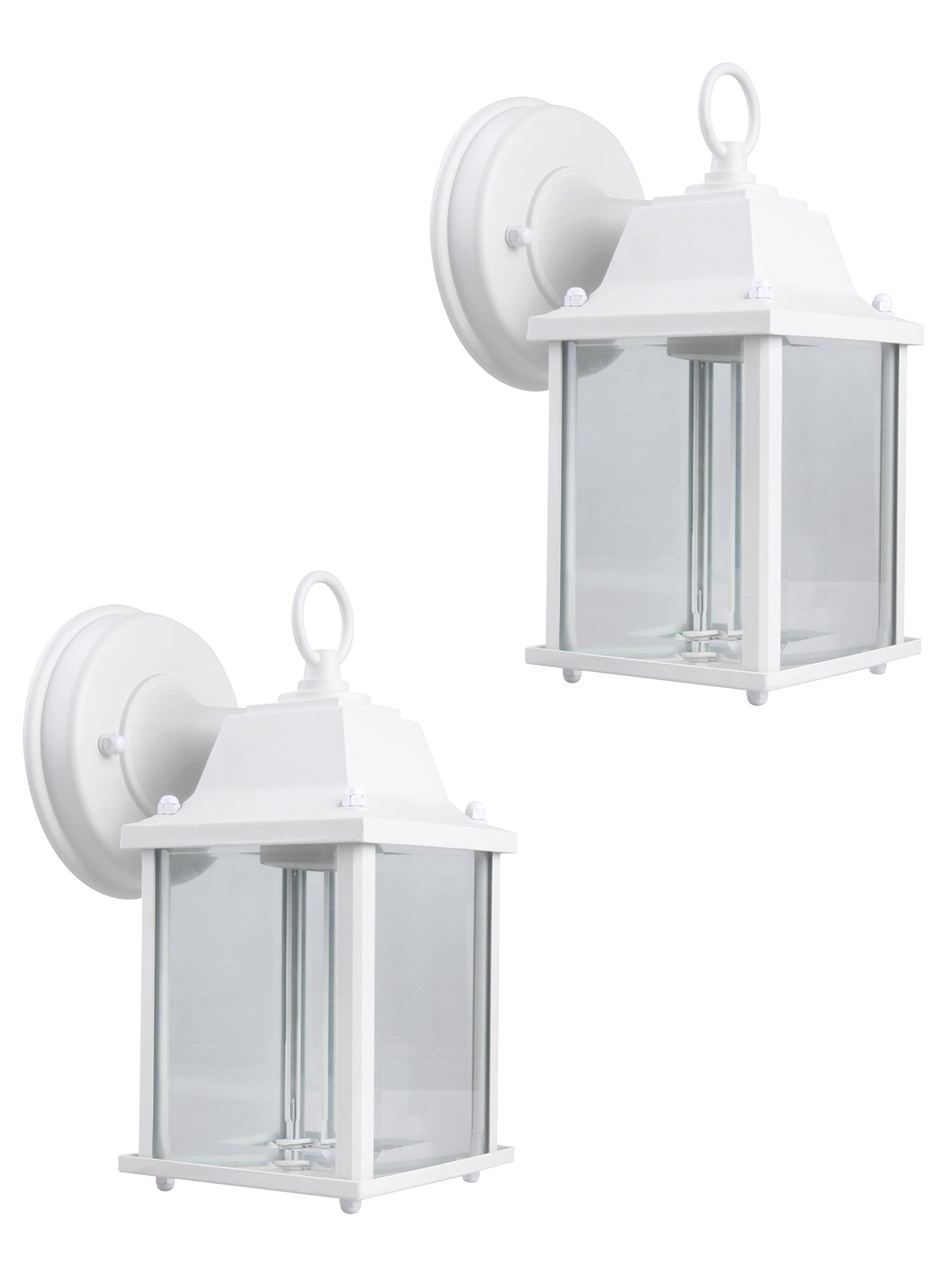 CORAMDEO Outdoor Wall Lantern, Wall Sconce as Porch Light Fixture with One E26 Base, Outdoor Rated, White Powder Coat Finish, Aluminum Housing Plus Glass, 2-Pack