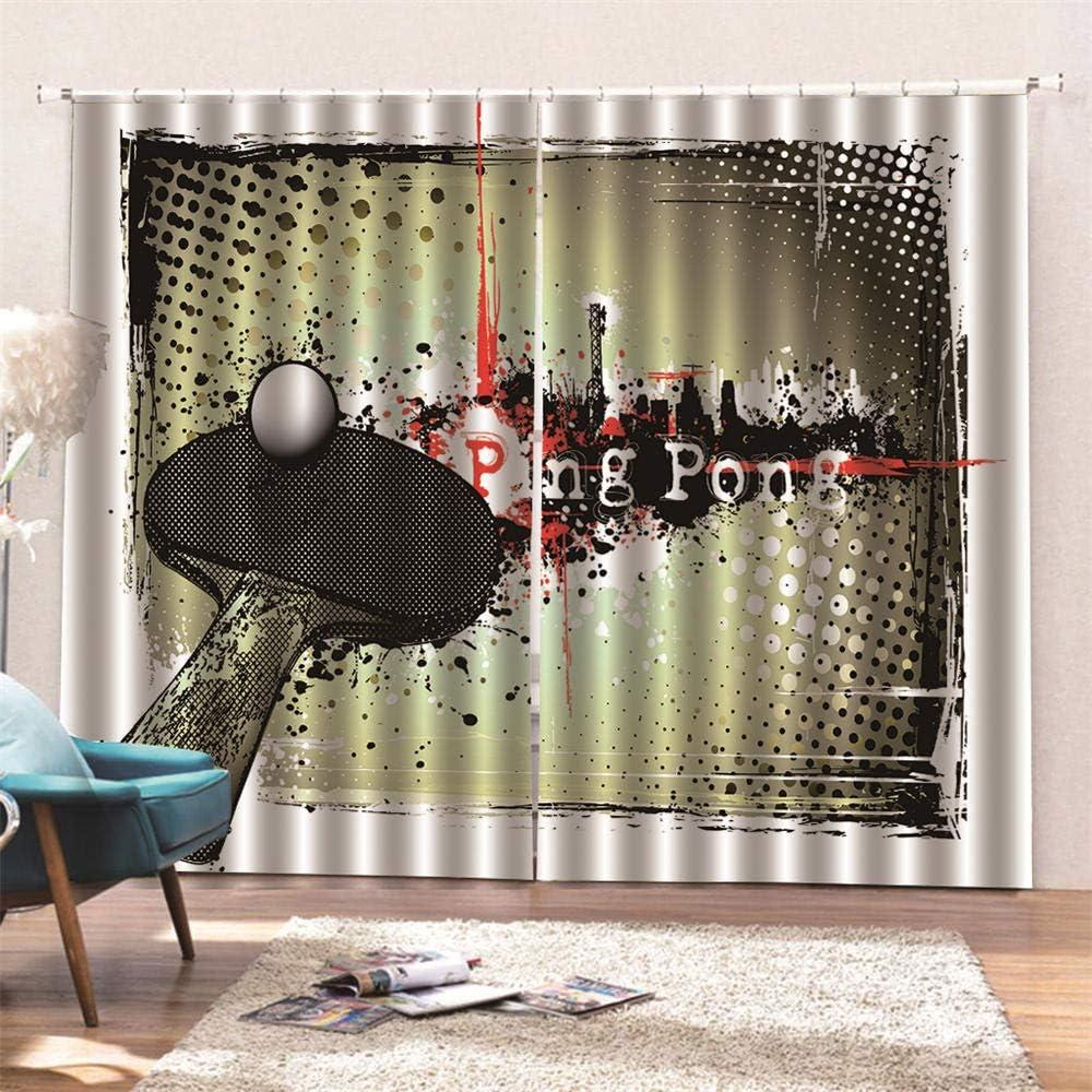 AKLIGSD Cortinas Salón Ping Pong Cortinas Plisadas a Lápiz Cortinas Opacas de Reducción de Ruido para Dormitorio Sala de Estar Oficina del Hotel 170(W) x200(H) cm