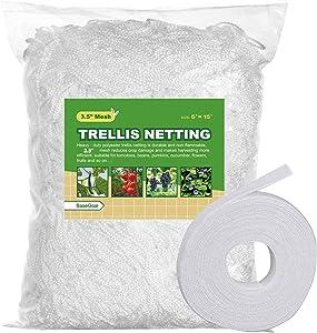 "BaseGoal All-Weather Trellis Netting Mesh Plant Garden Vine Growing Flexible String Net (3.5"" Mesh, 5' Wx 15'L)"