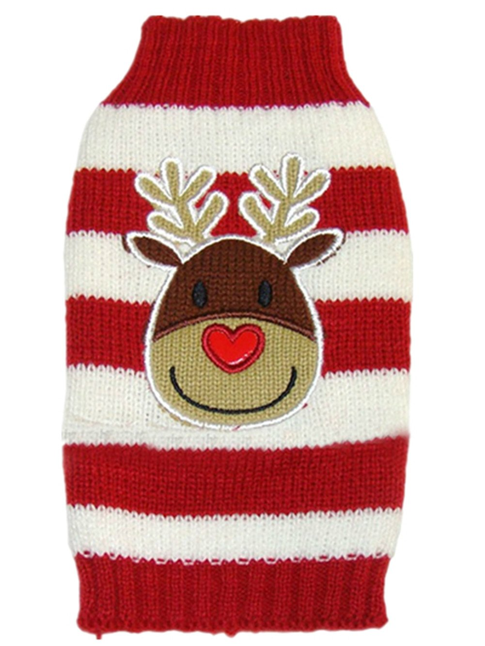 Moolecole Cute Reindeer Pet Dog Christmas Knitted Sweater Puppy Cat Winter Sweatshirt Clothes Warm Knitwear Hoodies Red & White S