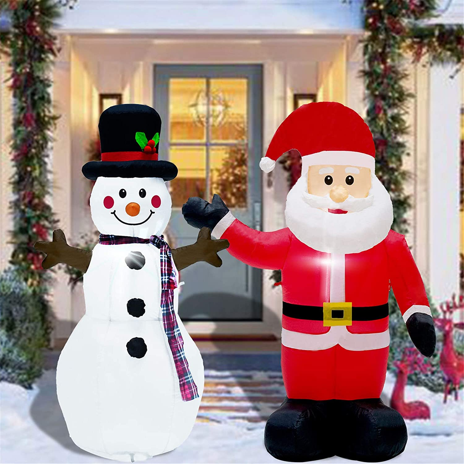 Twinkle Star Set Of 2 Christmas Inflatables Lighted Santa Claus And Snowman 4ft Blow Up Indoor Outdoor Xmas Decor Lawn Yard Garden Decorations Garden Outdoor