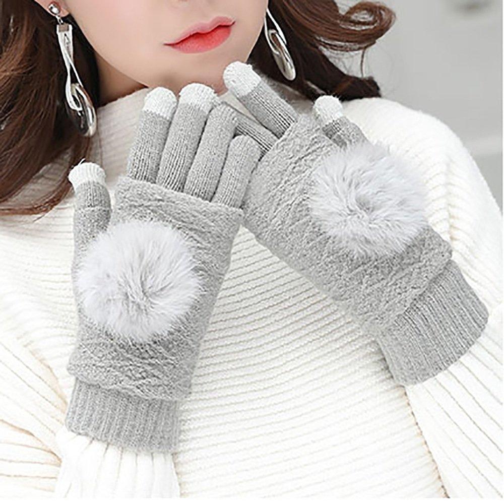 LJHA Guanti a maglia donna spazzolati rimovibili caldi Autunno e in inverno sport all'aria aperta / ...
