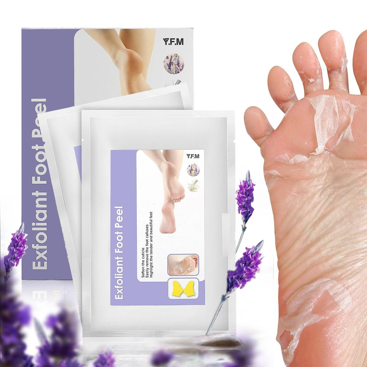Foot Peel Mask, Y.F.M Exfoliating Calluses and Dead Skin Remover, Exfoliating Foot Peel Mask, Repair Rough Heels, Make Your Feet Baby Soft, Lavender Scented - 2 Pairs per Box