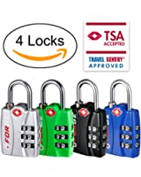 Forge TSA Lock 4 Pack 4 Colors - Open Alert Indicator, Alloy Body, Easy Read Dials