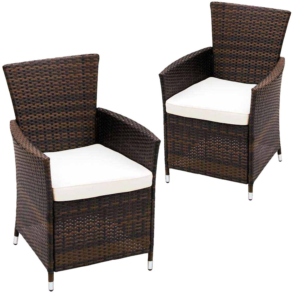 Miadomodo Set of 2 Rattan Chairs with Cushions Outdoor Garden Patio ...