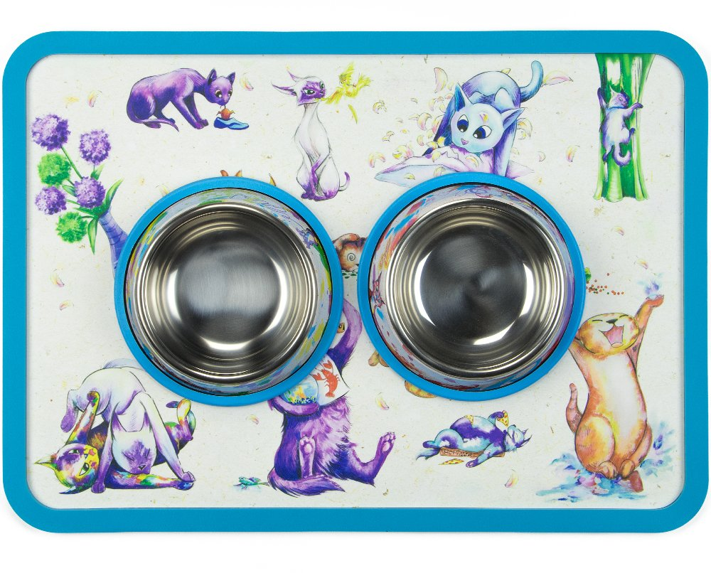 Weebo Pets 3-in-1 Cat Food & Water Bowls with Mat Set - Cat Tales: Cat-titude Premium 4 oz. Stainless Steel Dishes with Food-Grade Silicone Feeding/Litter Box Mat