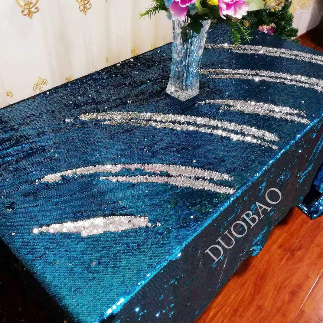DUOBAO 72x108-InchRectangleSequinTableclothAqua to Silver Mermaid Sequin Table Cover Glitter Table Cloths for Wedding/Party/Kitchen decorations-0612H