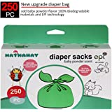 Sassy Small Diaper Bags, Tie Baby Disposable Diaper Sacks bags, 250 Counts, Safe & Biodegradable, with Baby Powder Scent