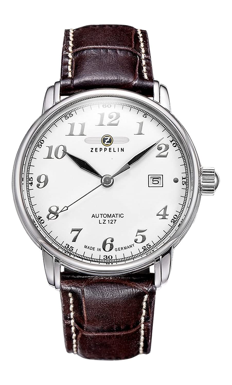Zeppelin Herrenarmbanduhr LZ 127 Graf Zeppelin Automatik Leder braun 7656-4