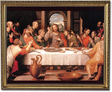 Jesus Christ The Last Supper Religious Wall Picture Gold Framed Art Print