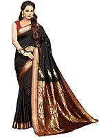 Craftsvilla Women's Silk Blend Zari Work Traditional Black Saree with Blouse piece