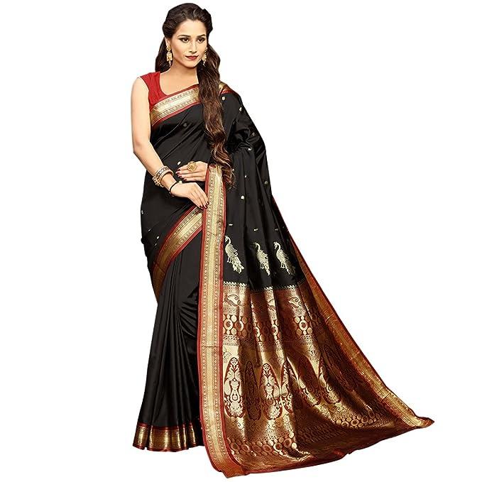 3fa3ad4219a4 Craftsvilla - Blusa de seda para mujer, diseño de Zari, color negro ...