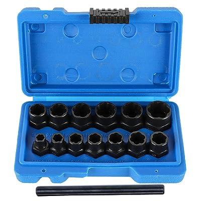 Ritzybiz Impact Nut & Bolt Extractor Set, Nut Removal Extractor Socket Tool Set, Metric Bolt Extractor Set, Bolt Remover Tool Set (14 Pcs): Home Improvement
