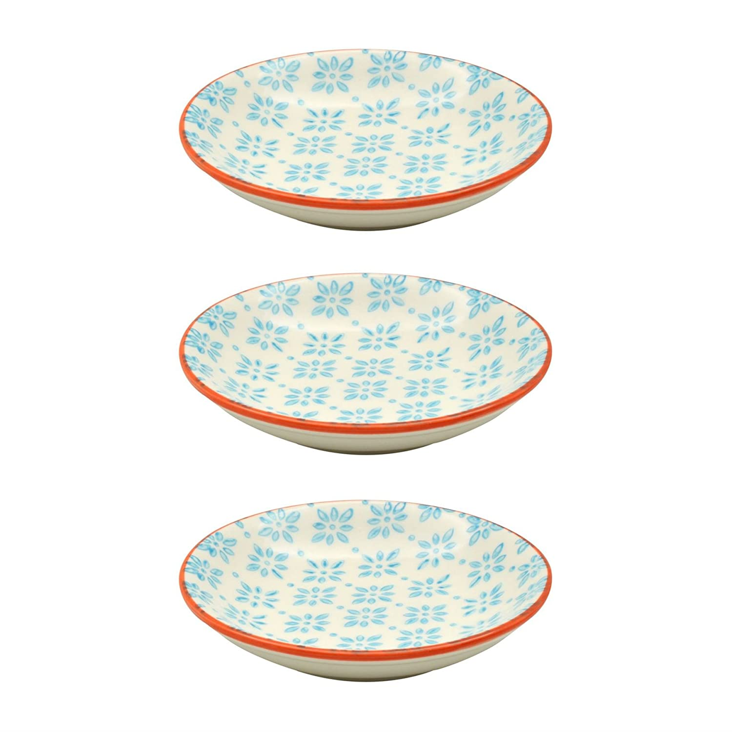 Small Patterned Rice / Soy Sauce / Olive Oil / Dipping Dish - 101mm - Blue / Orange - Box of 3 Nicola Spring