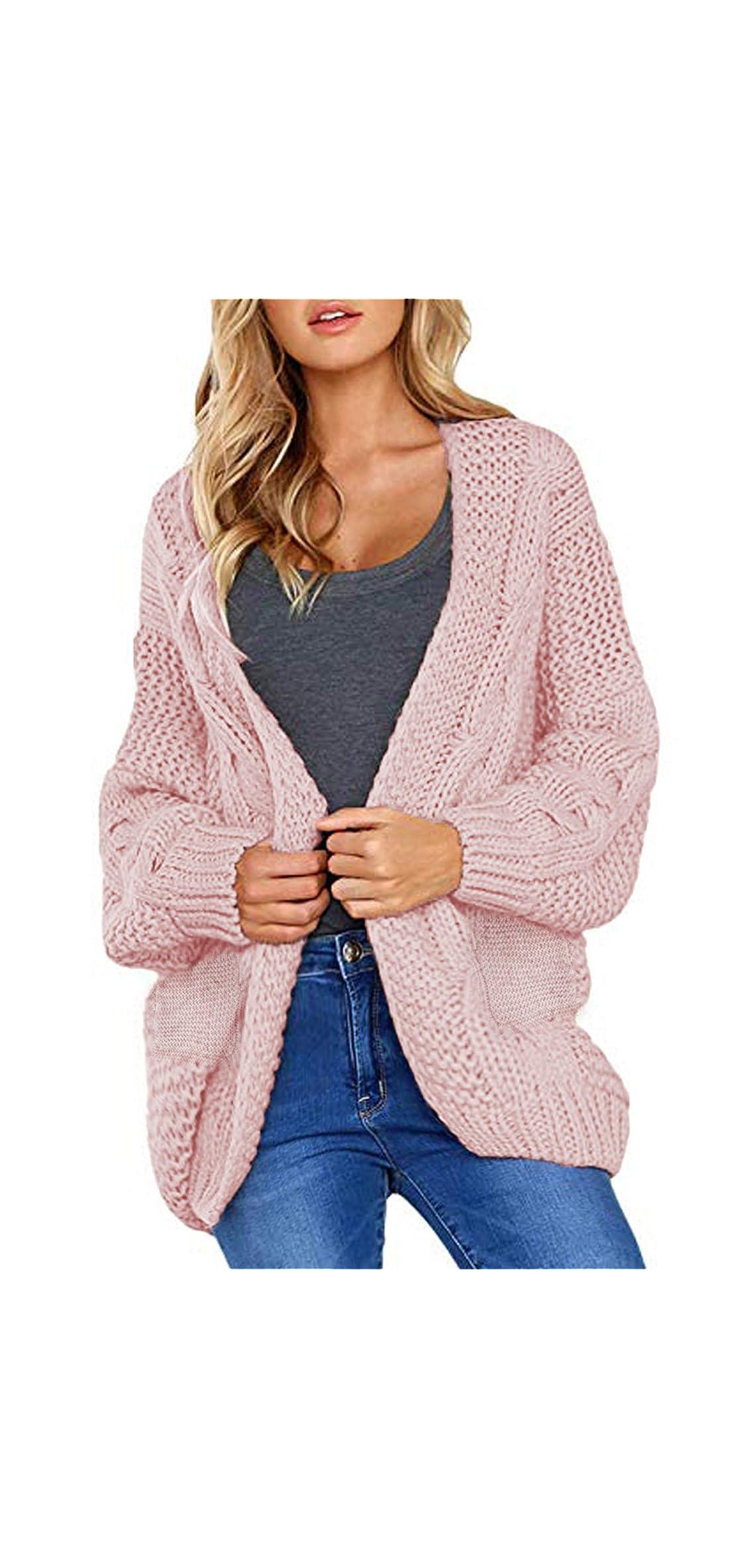Women Open Front Long Sleeve Chunky Knit Cardigan Sweater