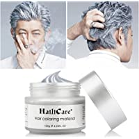 HailiCare Temporary Silver Grey Hair Wax 4.23 oz, Professional Instant Silver Ash Hair Wax, Natural Matte Hairstyle Hair Dye Wax for Party, Masquerade,Cosplay (Upgrade Glass Jar)