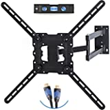 "TV Wall Mount Fits most 19""-55"" LCD/LED/Flat Screens up to 66lb. Full Motion Swivel Articulating Arm. Tilt, 20"" Extension Arm, VESA 600x400, HDMI Cable & Bubble Level"