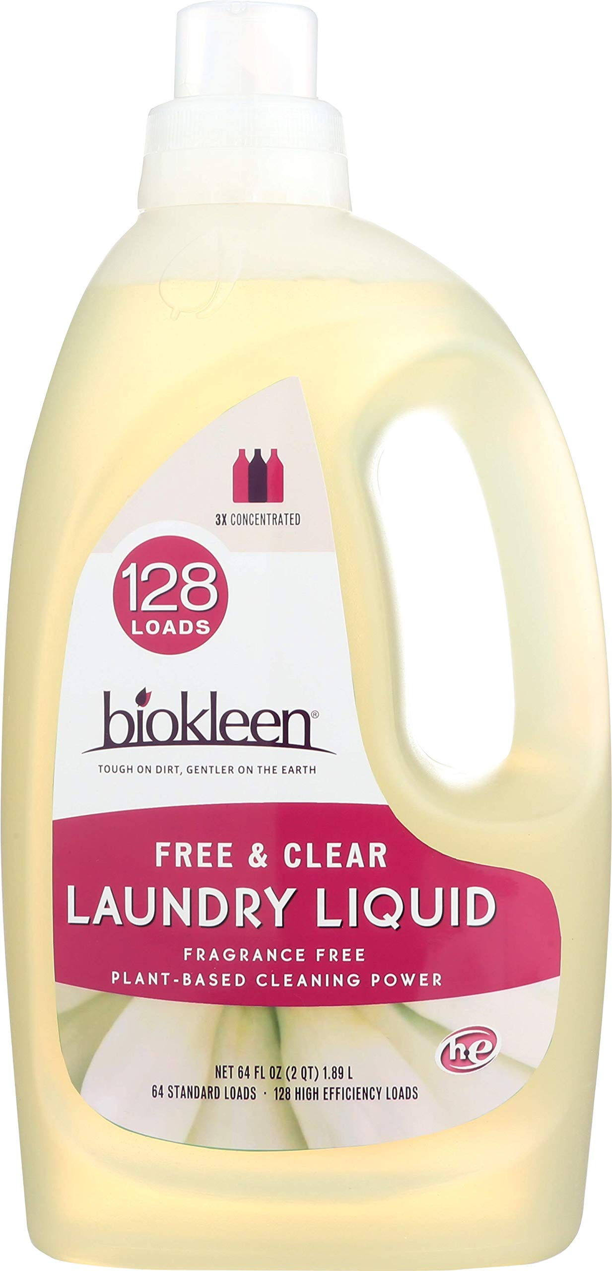 Biokleen Laundry Detergent Liquid, Concentrated, Eco-Friendly, Non-Toxic, Plant-Based, No Artificial Fragrance, Free & Clear, Unscented, 64 Ounces - 128 HE Loads/64 Standard Loads (Pack of 6)